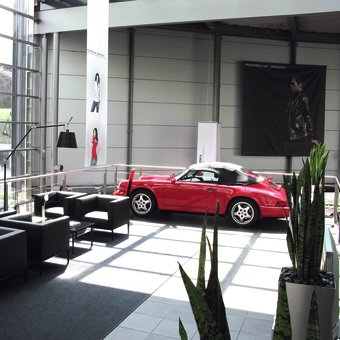 The lounge at the Porsche Store